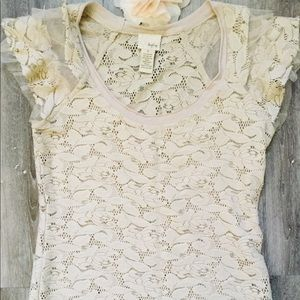 Daytrip short sleeve semi sheer floral lace top S